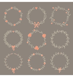 set 9 hand drawn wreaths vector image