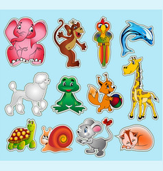 set animal stickers with giraffe elephant vector image