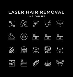 Set line icons laser hair removal vector