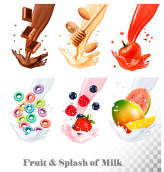 Set three labels fruit in milk splashes vector