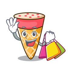 Shopping ice cream tone character cartoon vector
