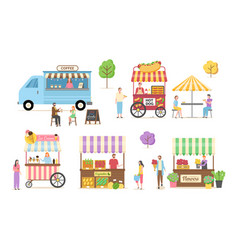 shops street food kiosk with coffee hot dog vector image