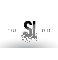 Si s i pixel letter logo with digital shattered vector