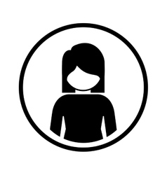 Silhouette sphere of half body icon woman vector