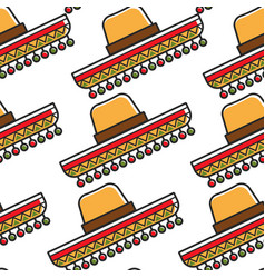 sombrero mexican hat seamless pattern national vector image