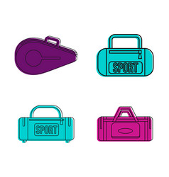 Sport bag icon set color outline style vector