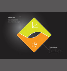 Square infographic template consists two vector