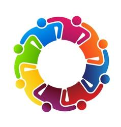 Teamwork Hugging 8 logo vector image