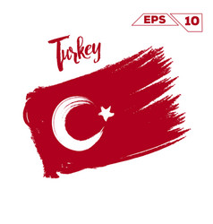 Turkey flag brush strokes painted vector