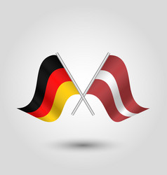 Two crossed german and latvian flags vector