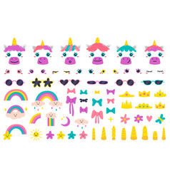 unicorn faces cute fairytale unicorn face vector image