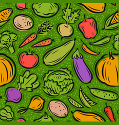 vegetables pattern healthy food seamless vector image