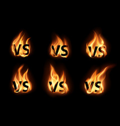 versus or vs with realistic fire flames icons set vector image