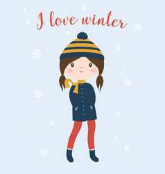 winter card with cute girl vector image