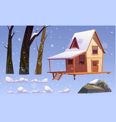 winter landscape with wooden house snow and trees vector image