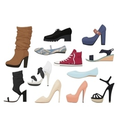Woman shoes isolated set Female girl season shoes vector image