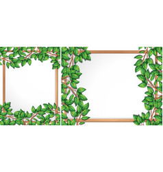 Wooden tree branch frame vector