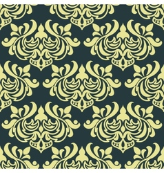 Yellow floral damask seamless pattern vector