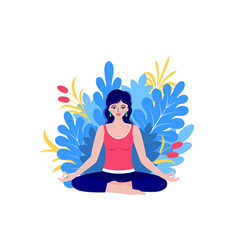 young woman meditates vector image