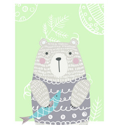 hand drawn funny cute bear vector image vector image