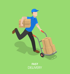 happy courier flat isometric concept vector image