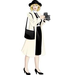 Retro character attractive caucasian woman vector image