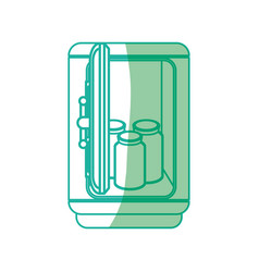 Silhouette metal strong box with glass bottles vector