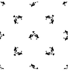 two birds with hearts pattern seamless black vector image vector image