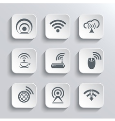 Wireless and Wi-Fi Web Icons Set vector image vector image