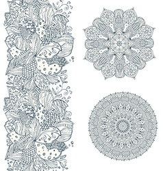 collection seamless border of doodle pattern vector image vector image