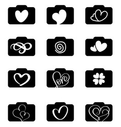 set of photography icons logos for love wedding vector image