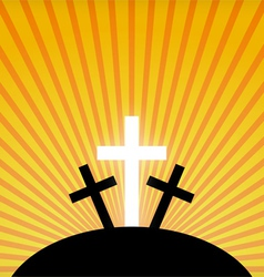 Silhouettes of crosses against a sunset sky vector image