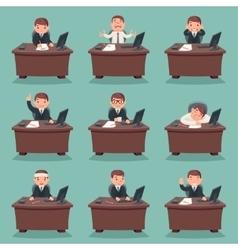 Businessman character work office desktop set vector