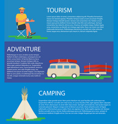 camping banner tourist bus with canoe tipi tent vector image