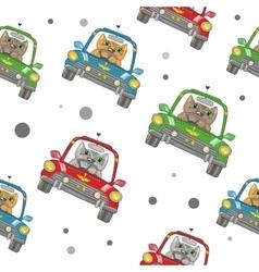 Cartoon Cat on the Car Pattern vector image