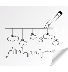 contours of buildings and clouds vector image vector image