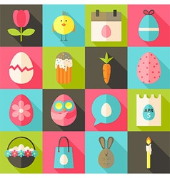 Easter flat styled icon set 2 with long shadow vector