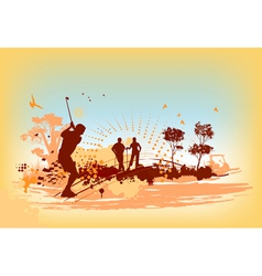 Golf players and equipment vector image vector image