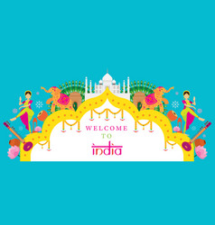 India travel attraction banner vector
