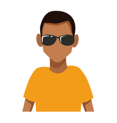 man with sunglasses cartoon vector image