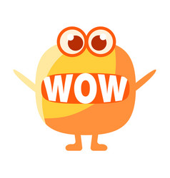 orange blob saying wow cute emoji character with vector image vector image