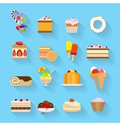 Sweets flat icons vector