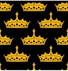 Vintage royal seamless apttern with golden crowns vector
