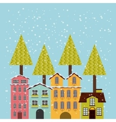 winter cityscape background icon vector image