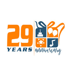 29 year gift box ribbon anniversa vector