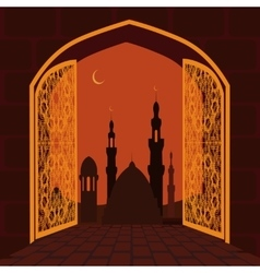 The Muslim holiday of Ramadan Postcard in the vector image vector image