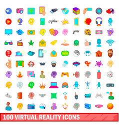 100 virtual reality icons set cartoon style vector