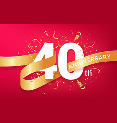 40th anniversary celebration banner template vector