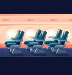 Airplane cabin plane economy class with seats vector