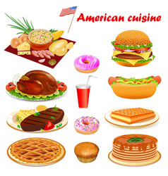 american cuisine with steak turkey punkake vector image